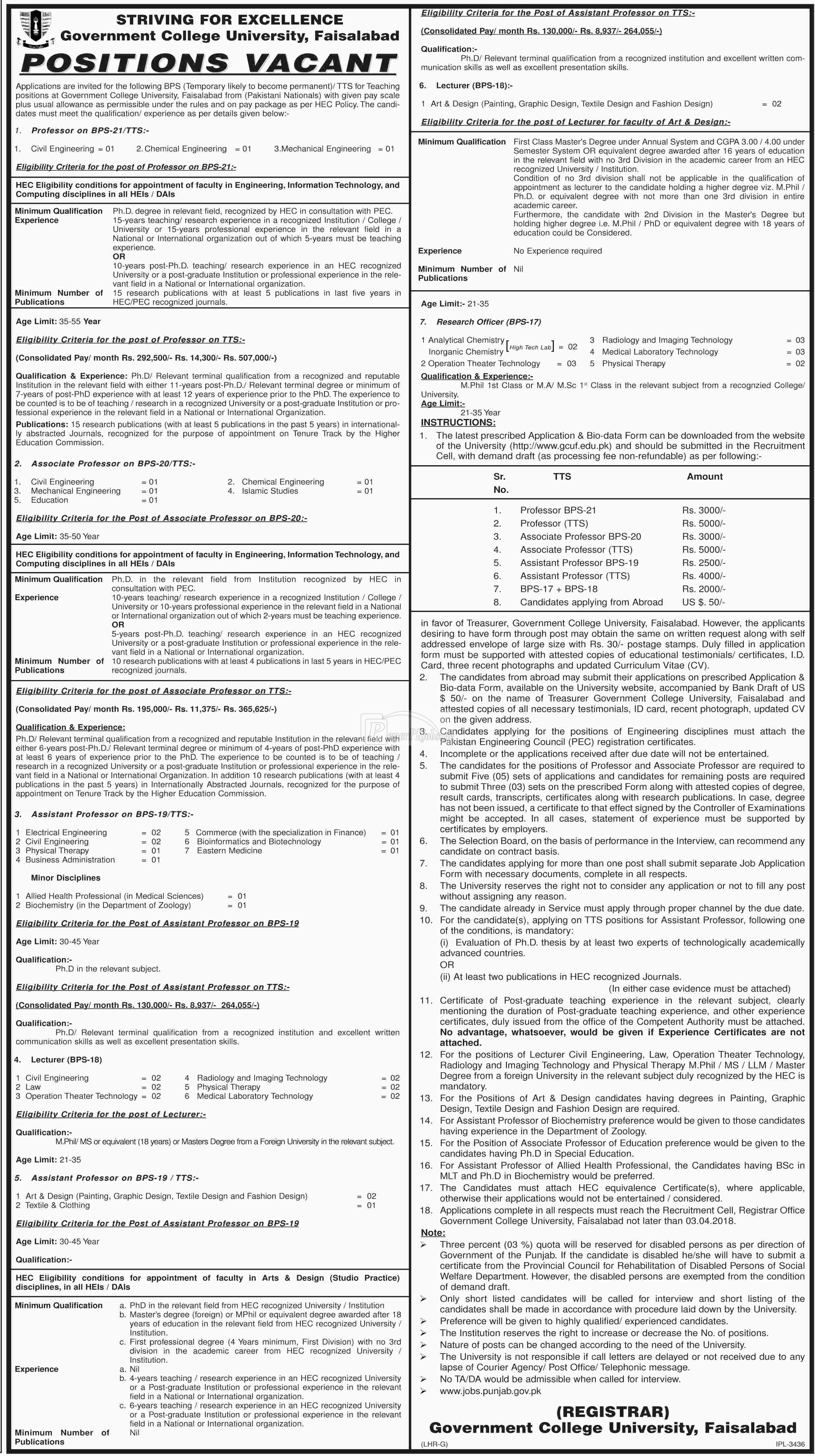 Government College University Faisalabad GCU Jobs 2018