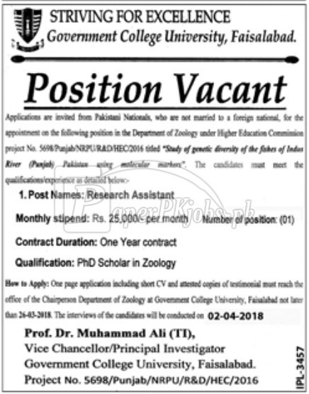 Government College University GCU Faisalabad Jobs 2018