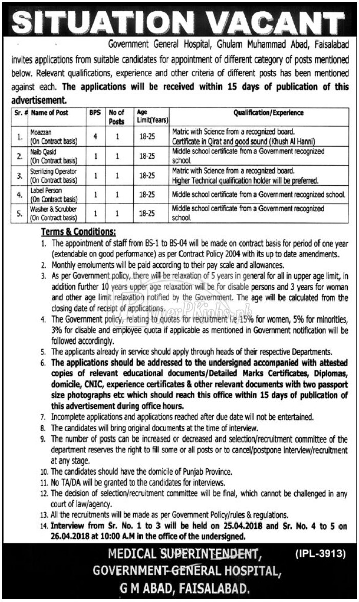 Government General Hospital Faisalabad Jobs 2018