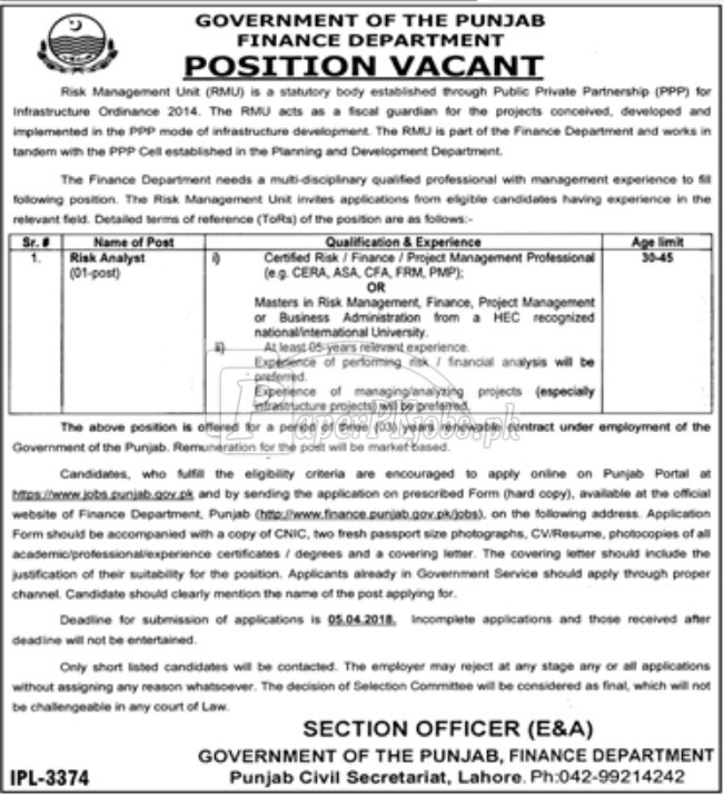 Government of the Punjab - Finance Department Jobs 2018