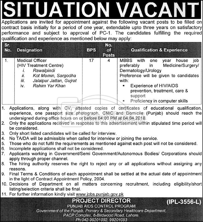 Government of the Punjab - Primary & Secondary Healthcare Department Jobs 2018
