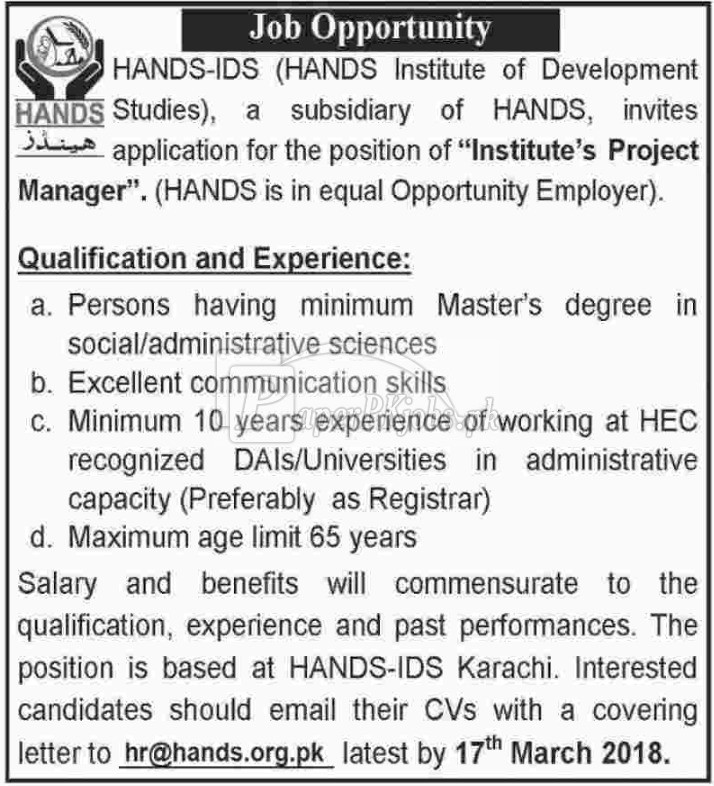 HANDS Institute of Development Studies Jobs 2018