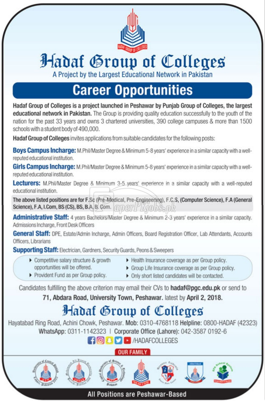 Hadaf Group of Colleges Jobs 2018