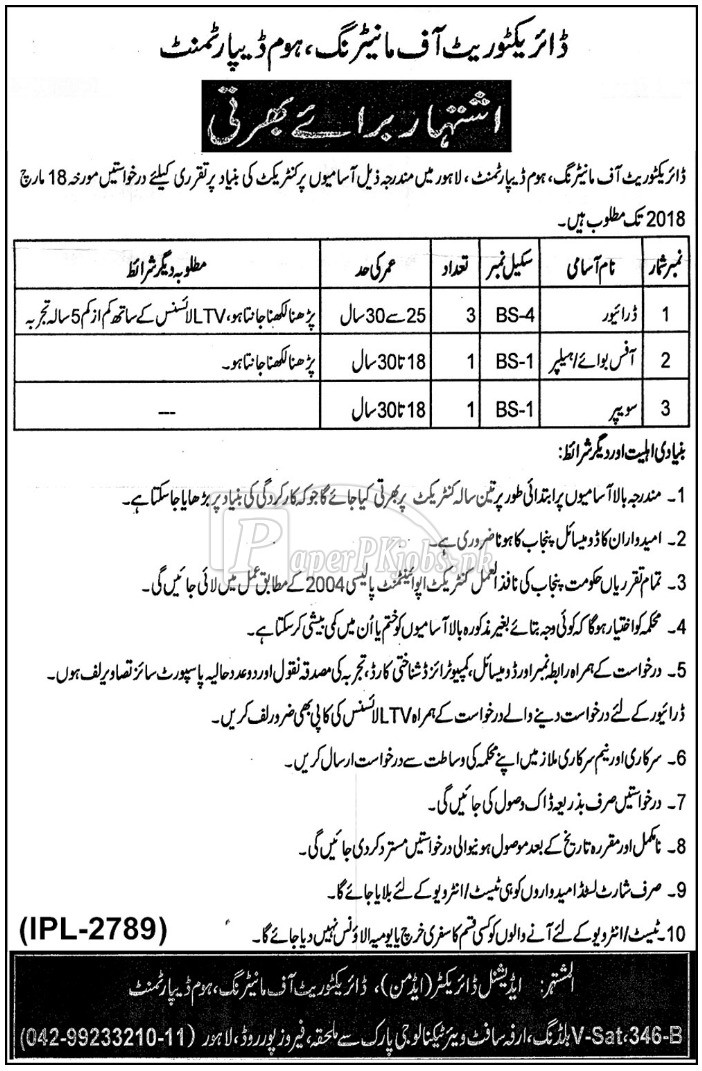 Home Department Government of Punjab Jobs 2018