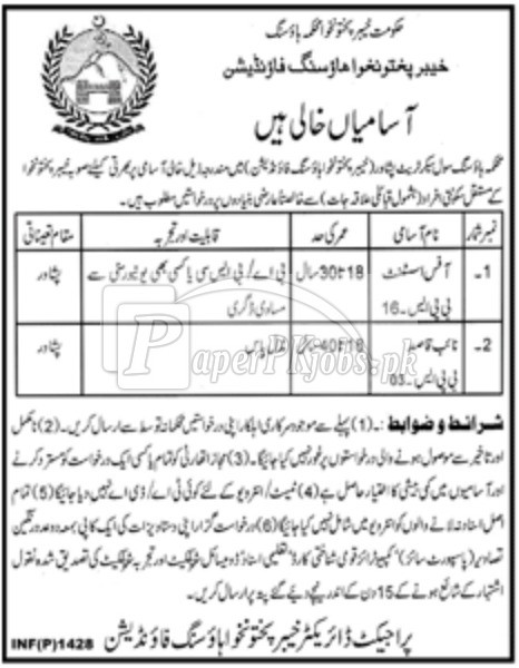 Housing Department Civil Secretariat Peshawar Jobs 2018