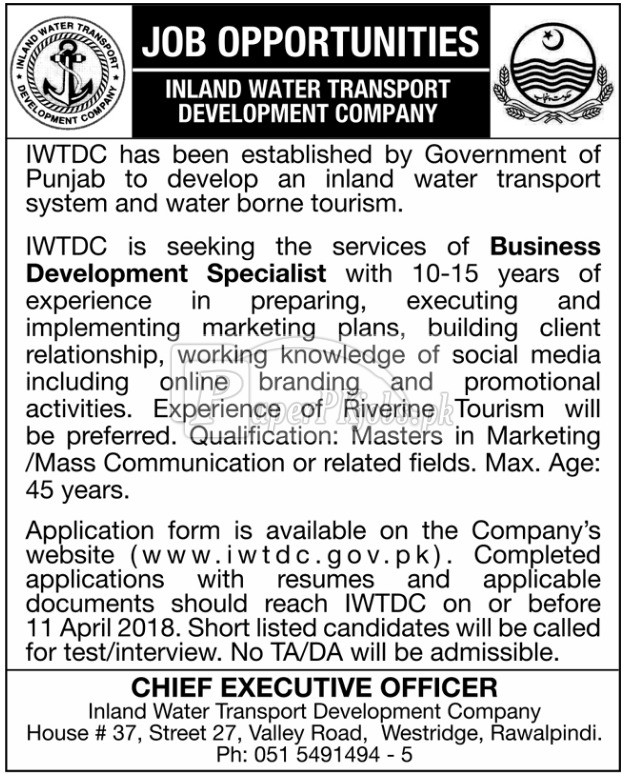 Inland Water Transport Development Company IWTDC Punjab Jobs 2018