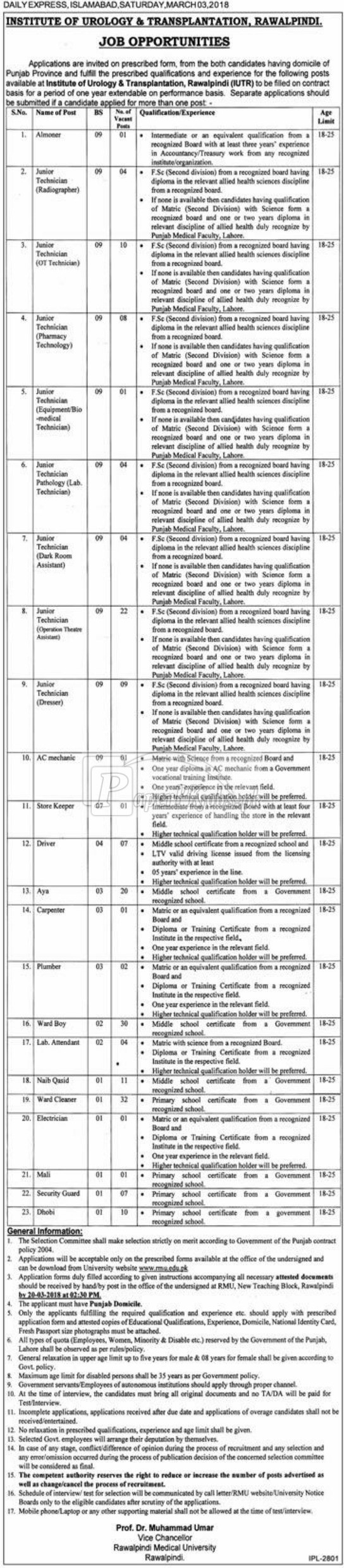 Institute of Urology & Transplantation Rawalpindi Jobs 2018
