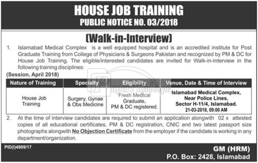 Islamabad Medical Complex House Jobs 2018