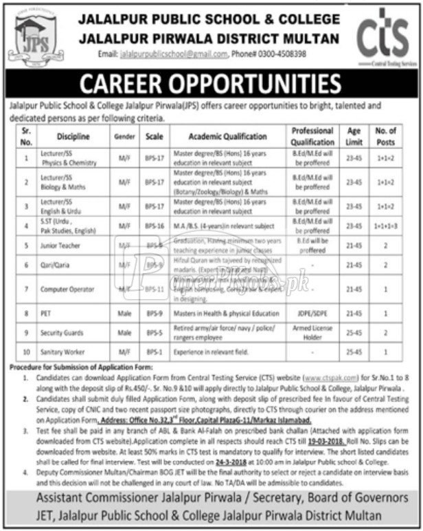 Jalalpur Public School & College Multan Jobs 2018