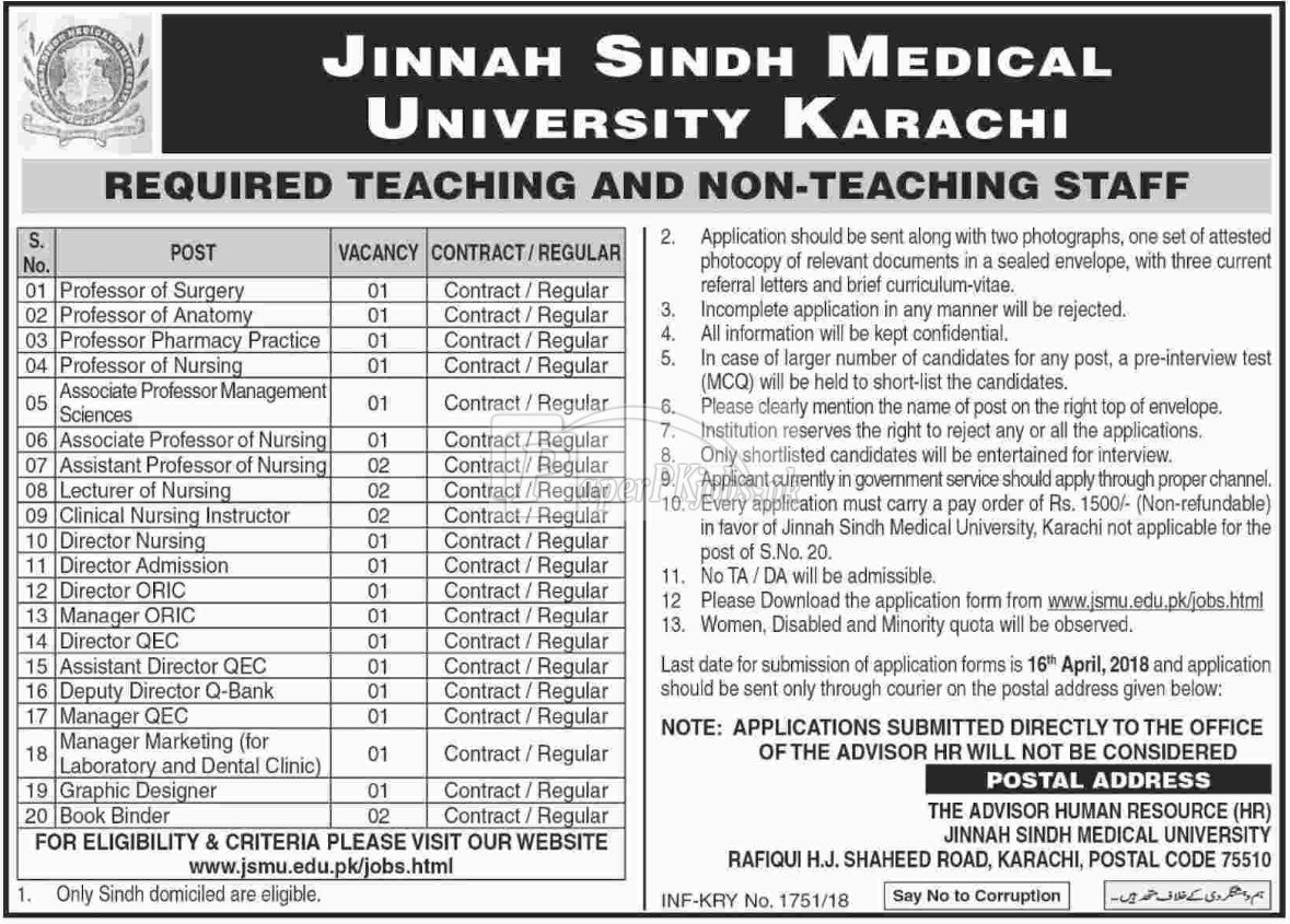 Jinnah Sindh Medical University JSMU Karachi Jobs 2018