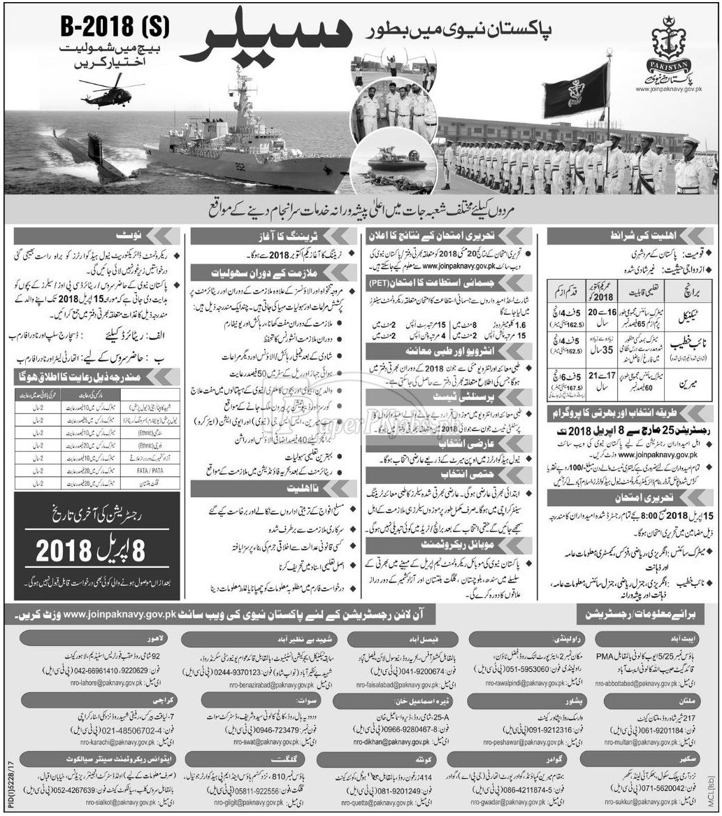 Join Pakistan Navy as Sailor 2018
