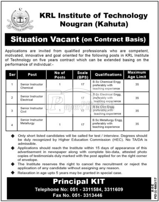 KRL Institute of Technology Nougran Kahuta Jobs 2018