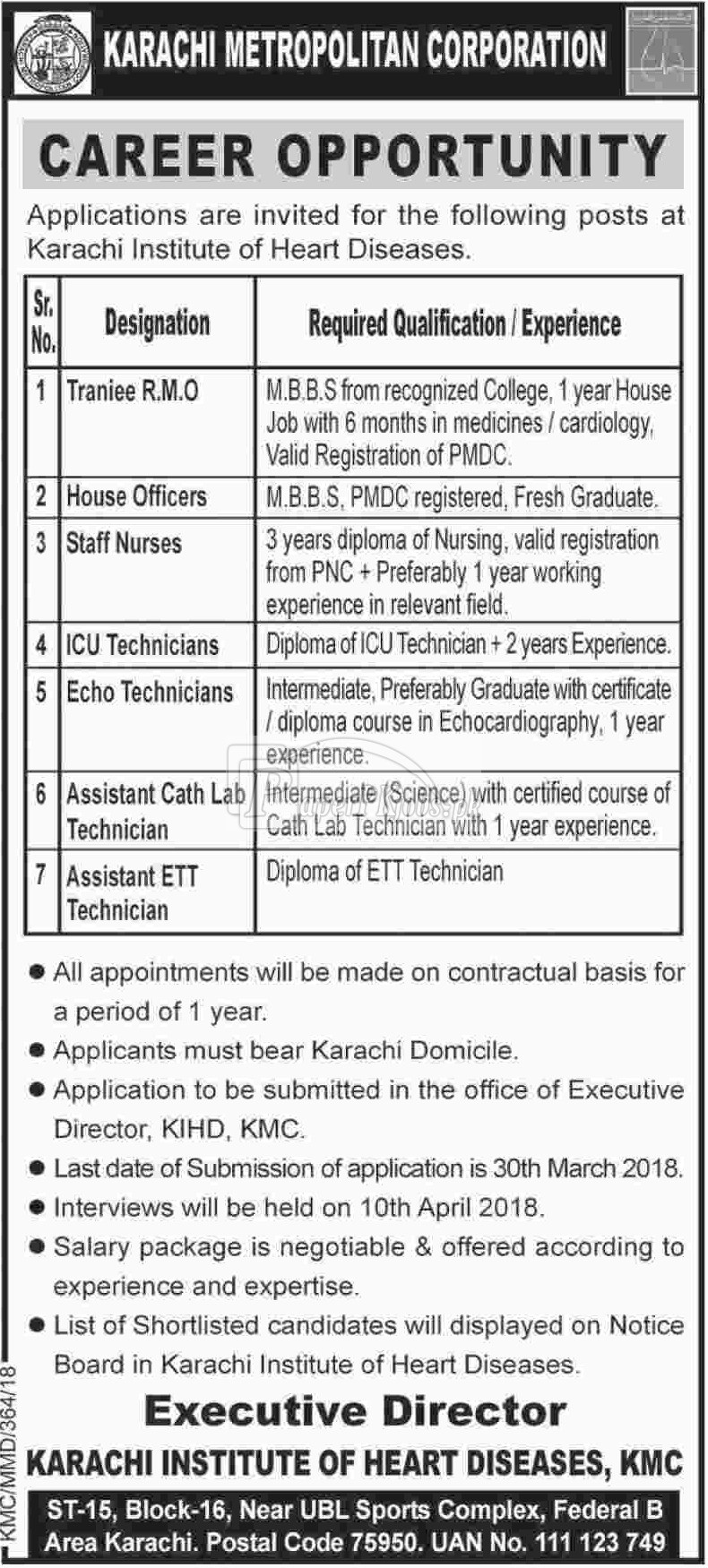 Karachi Metropolitan Corporation KMC Jobs 2018