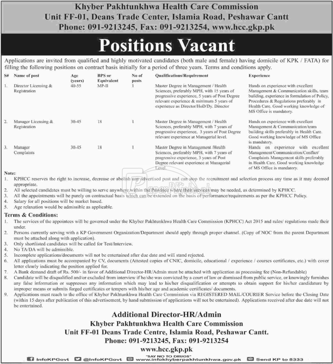 Khyber Pakhtunkhwa Health Care Commission KPHCC Jobs 2018