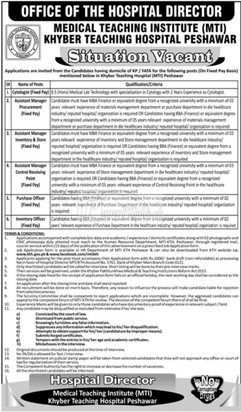 Khyber Teaching Hospital KTH Peshawar Jobs 2018