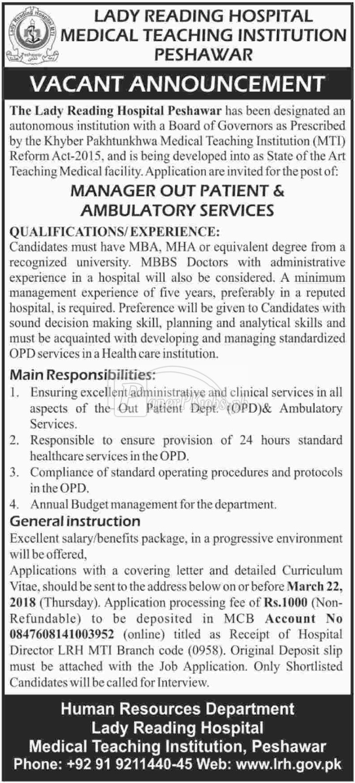 Lady Reading Hospital Medical Teaching Institution Peshawar Jobs 2018