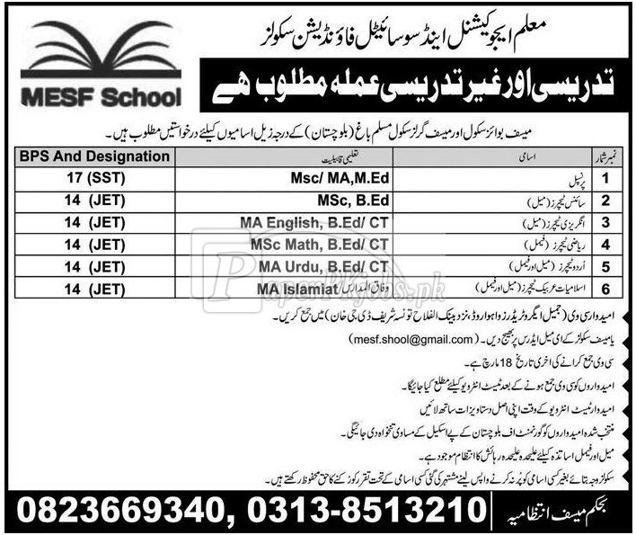 Maloom Educational & Societal Foundation Schools MESF Jobs 2018