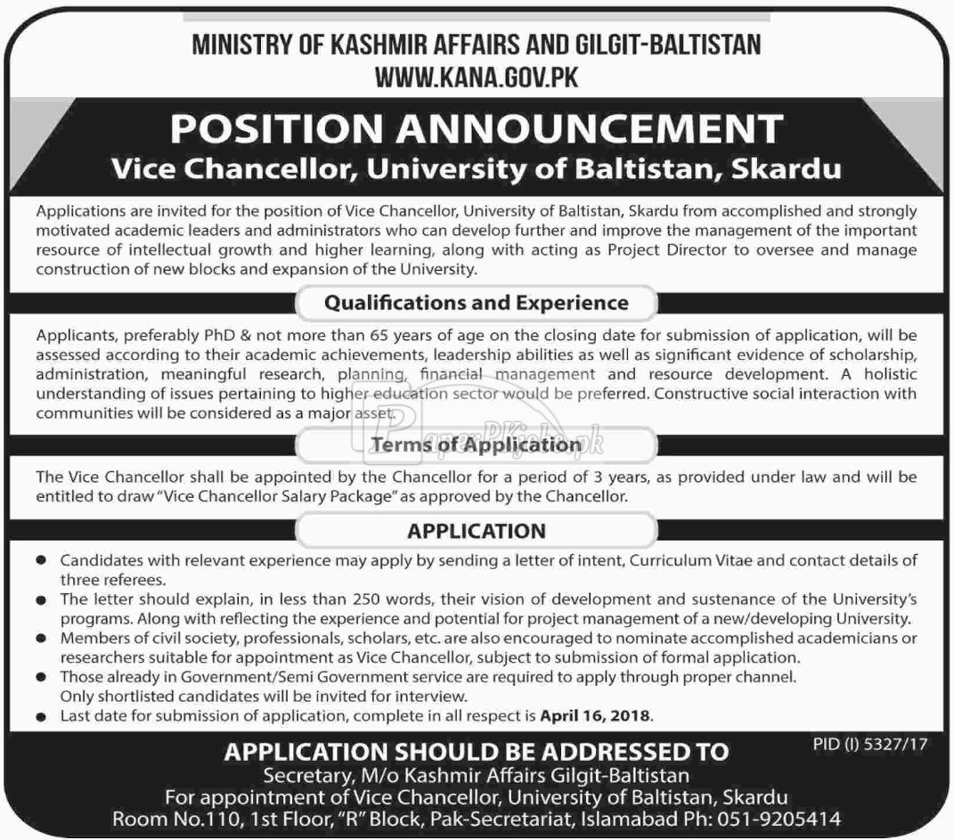 Ministry of Kashmir Affairs and Gilgit Baltistan Jobs 2018