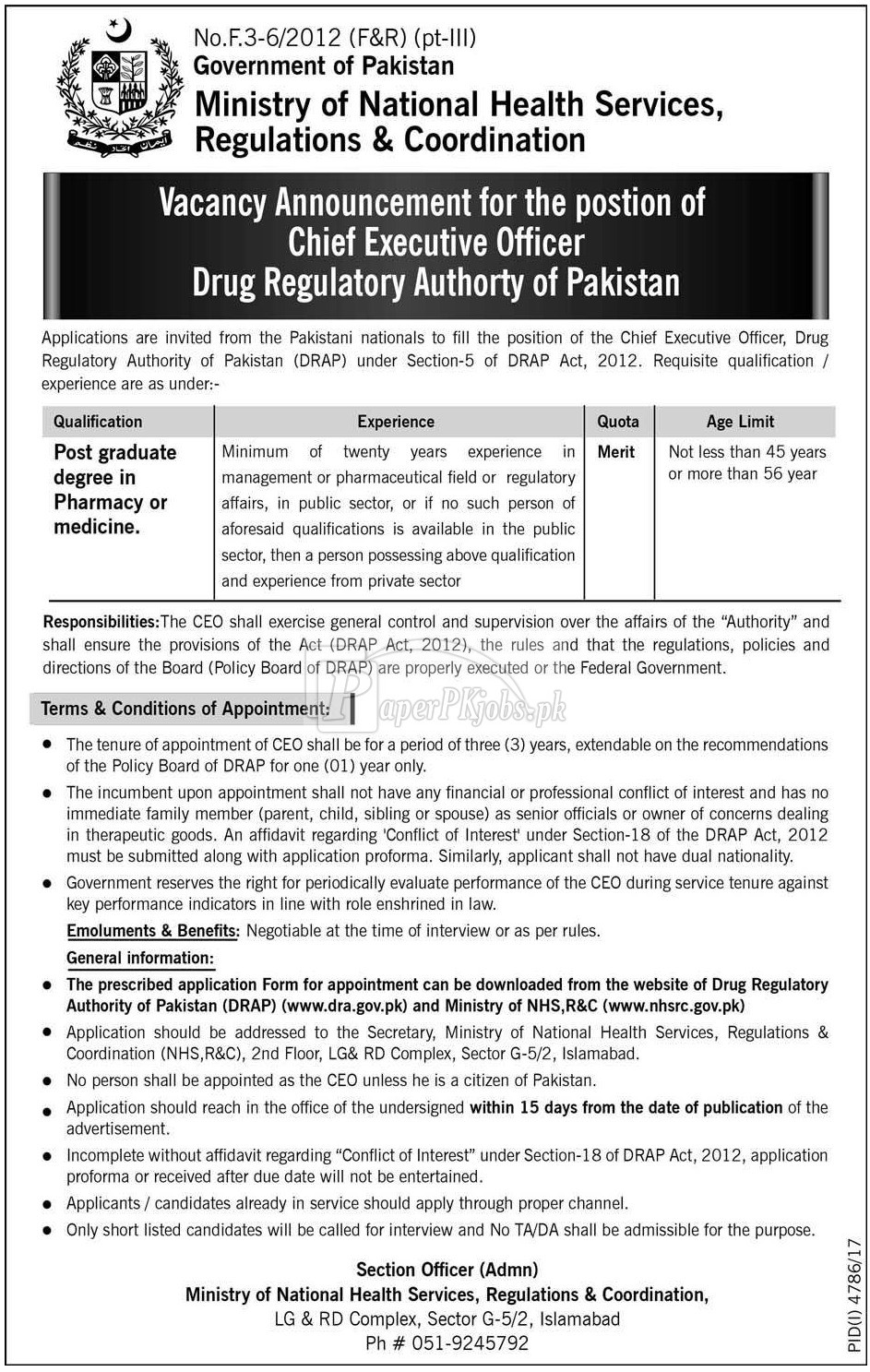 Ministry of National Health Services Regulations & Coordination Jobs 2018