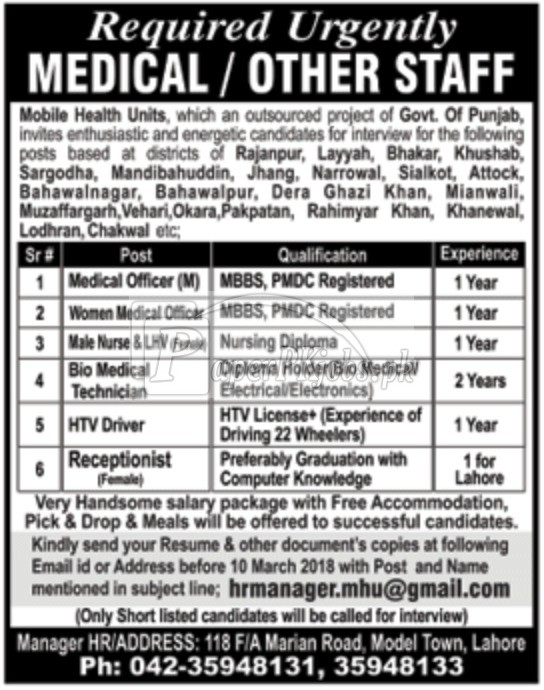 Mobile Health Units MHU Punjab Jobs 2018