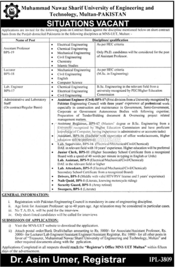 Muhammad Nawaz Sharif University of Engineering and Technology Multan Jobs 2018