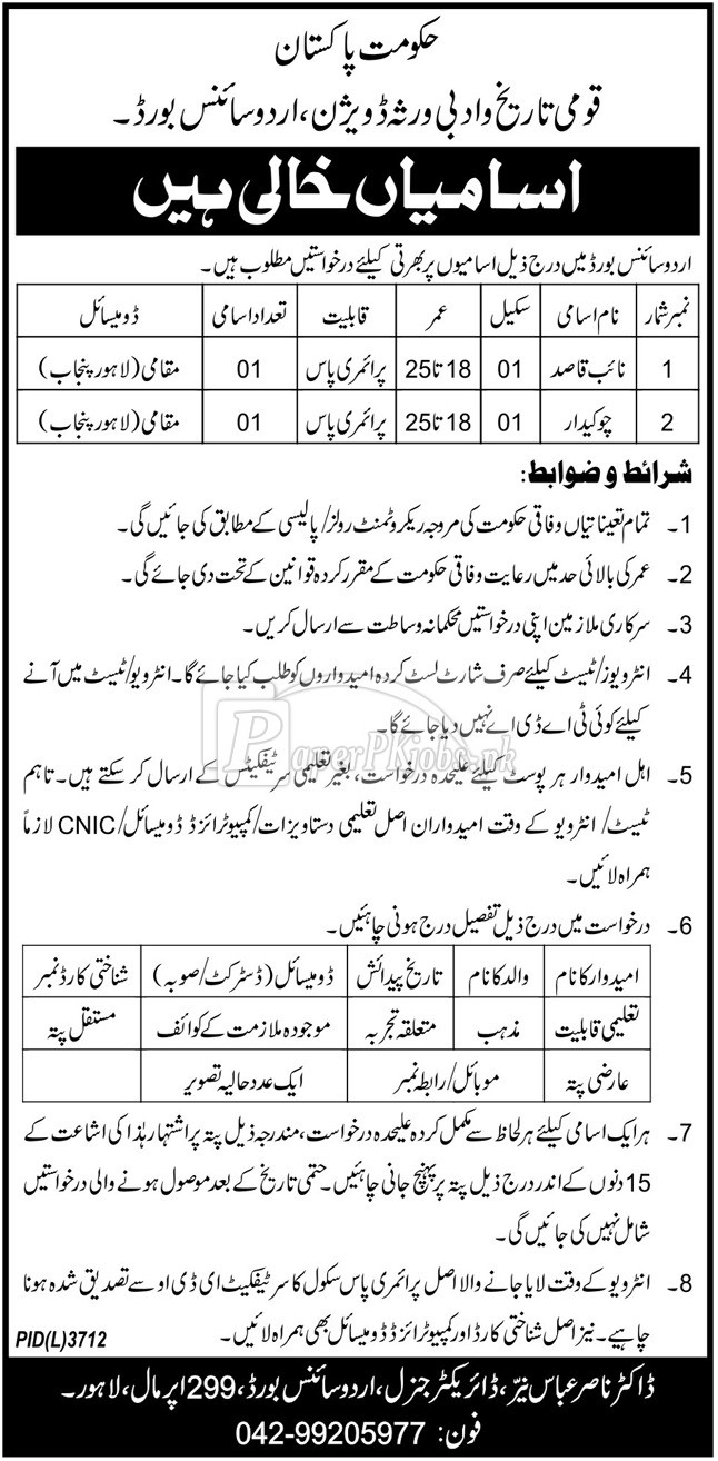 National History & Literary Heritage Division Lahore Jobs 2018