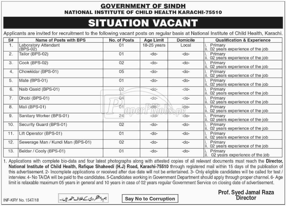 National Institute of Child Health Karachi Jobs 2018