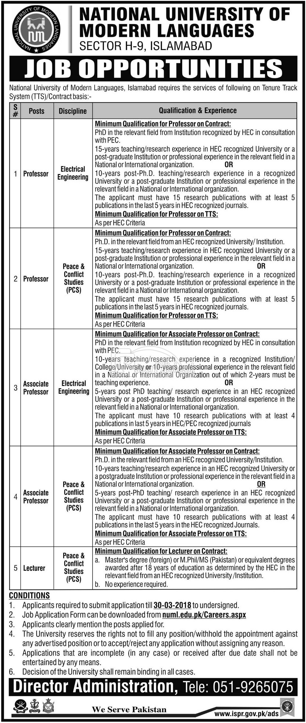 National University of Modern Languages NUML Islamabad Jobs 2018