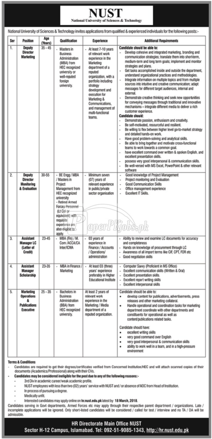 National University of Sciences & Technology NUST Islamabad Jobs 2018