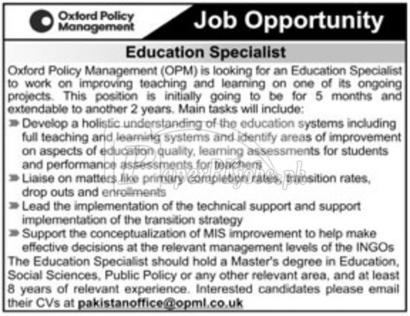 Oxford Policy Management OPM Jobs 2018