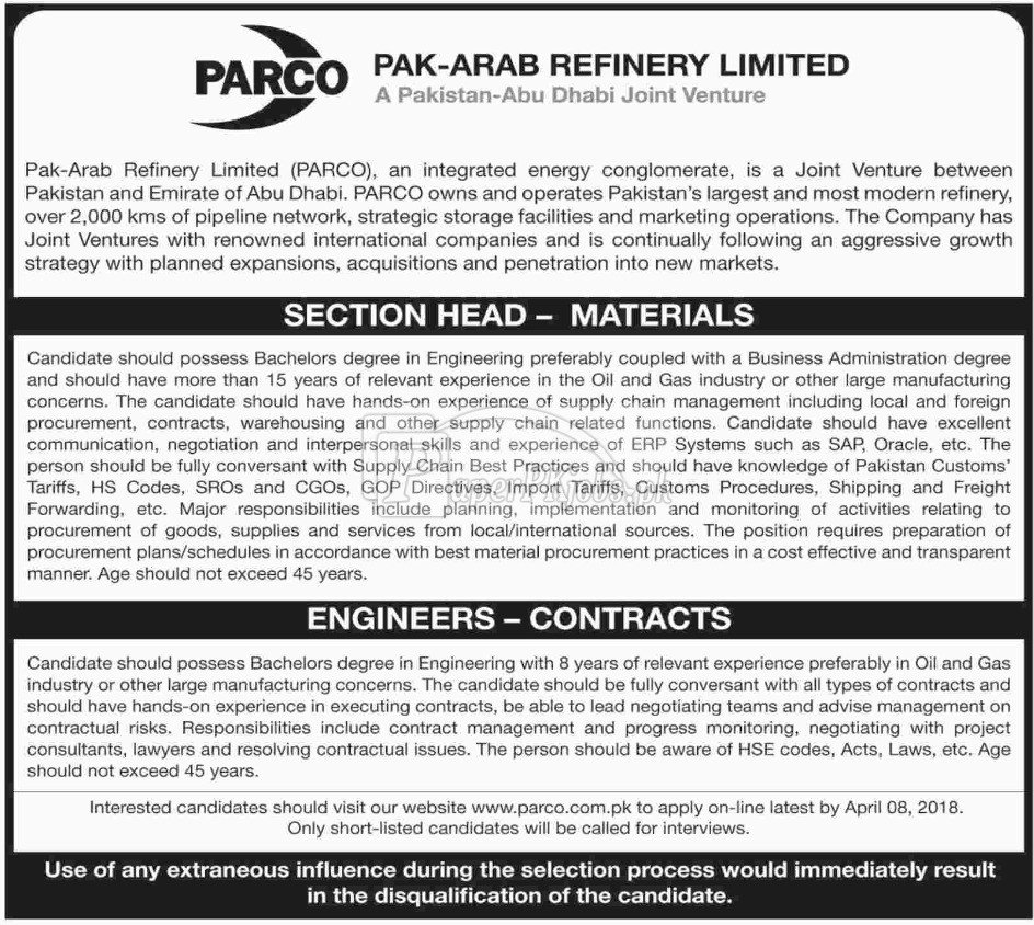 Pak Arab Refinery Limited PARCO Jobs 2018