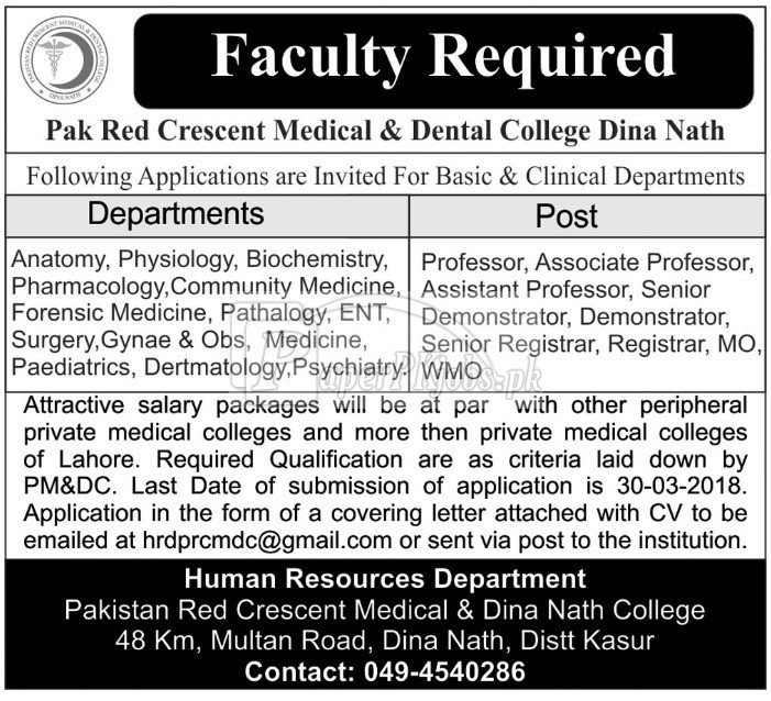 Pak Red Crescent Medical & Dental College Dina Nath Kasur Jobs 2018