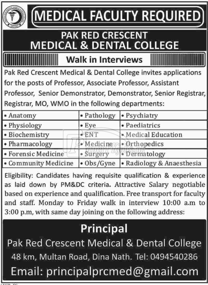 Pak Red Crescent Medical & Dental College Jobs 2018(1)