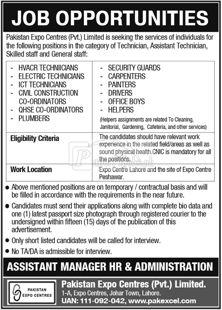Pakistan Expo Centres Pvt Ltd Jobs 2018