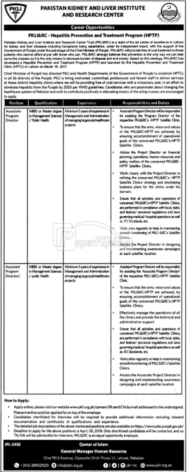 Pakistan Kidney and Liver Institute and Research Center Jobs 2018