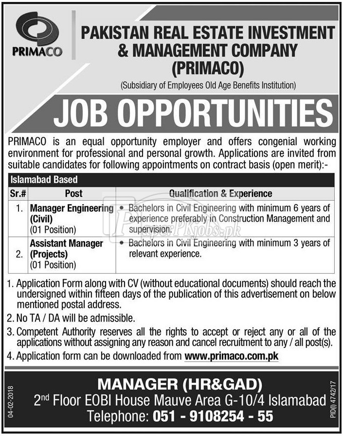 Pakistan Real Estate Investment & Management Company PRIMACO Jobs 2018