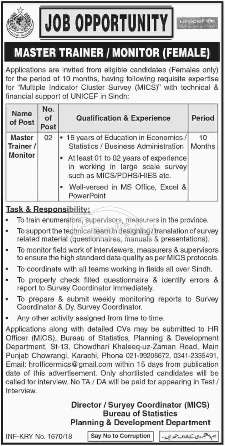 Planning & Development Department Sindh Jobs 2018