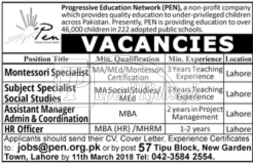 Progressive Education Network PEN Jobs 2018