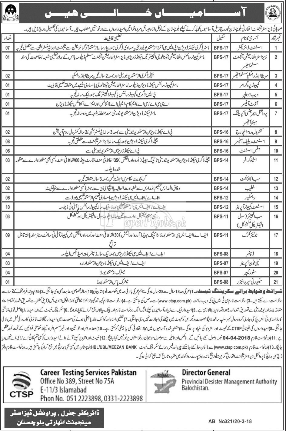 Provincial Disaster Management Authority Balochistan Jobs 2018