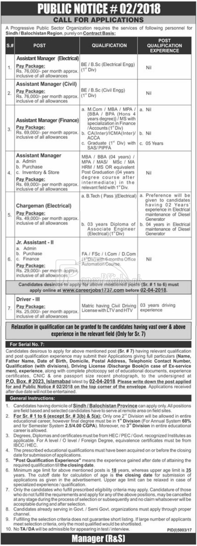 Public Sector Organization P.O.Box 2023 Islamabad Jobs 2018