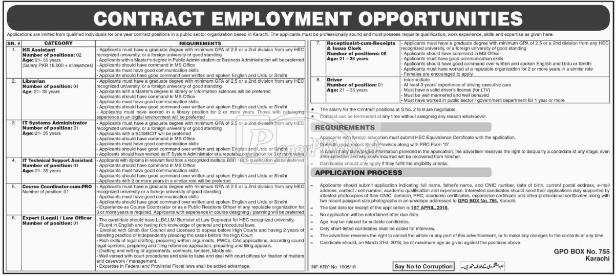 Public Sector Organization P.O.Box 755 Karachi Jobs 2018