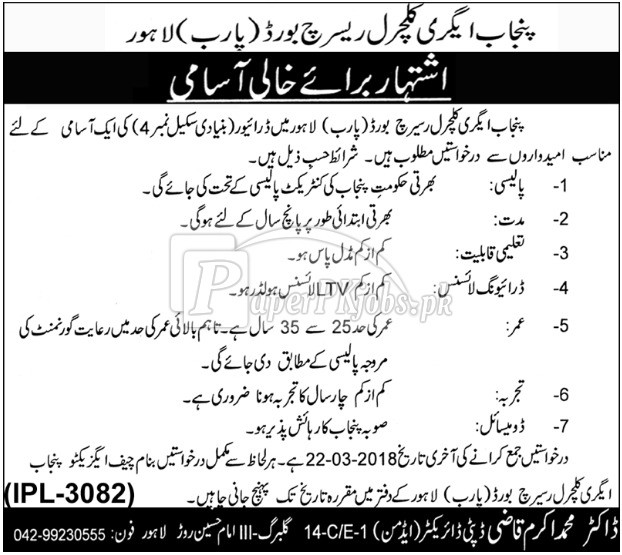 Punjab Agricultural Research Board PARB Lahore Jobs 2018
