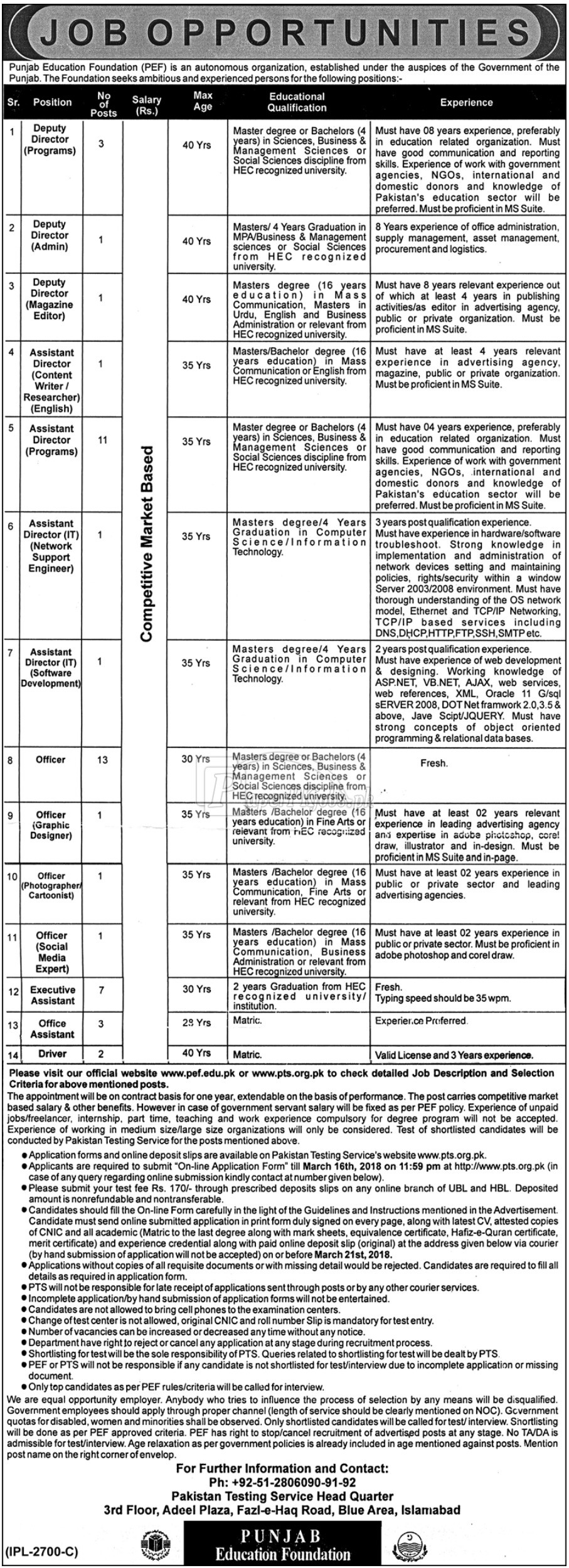 Punjab Education Foundation PEF Jobs 2018