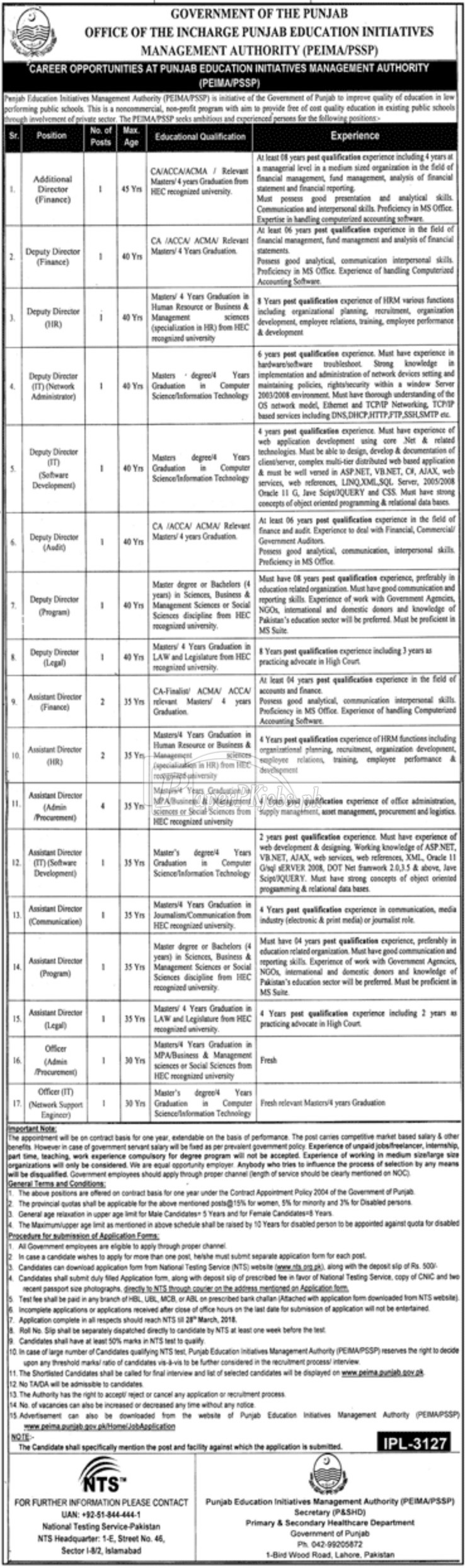 Punjab Education Initiatives Management Authority PEIMA Jobs 2018