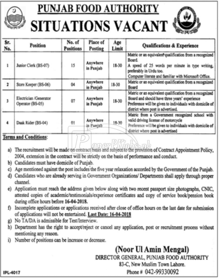 Punjab Food Authority PFA Jobs 2018