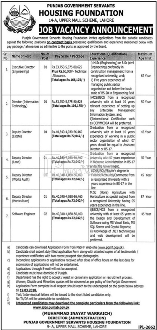 Punjab Government Servants Housing Foundation PGSHF Jobs 2018