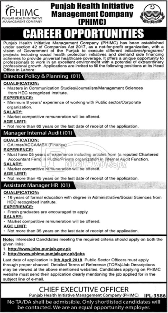 Punjab Health Initiative Management Company PHIMC Jobs 2018