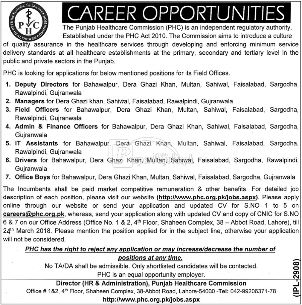 Punjab Healthcare Commission PHC Jobs 2018