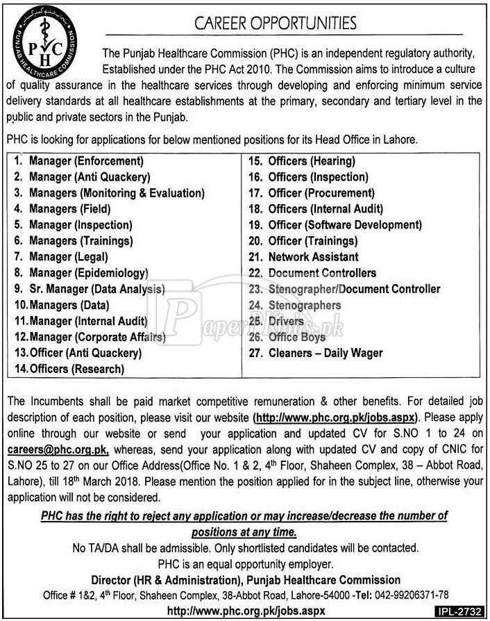 Punjab Healthcare Commission PHC Jobs 2018(1)