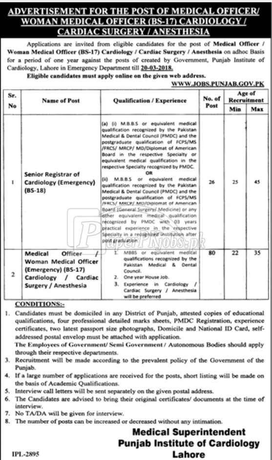 Punjab Institute of Cardiology Lahore Jobs 2018